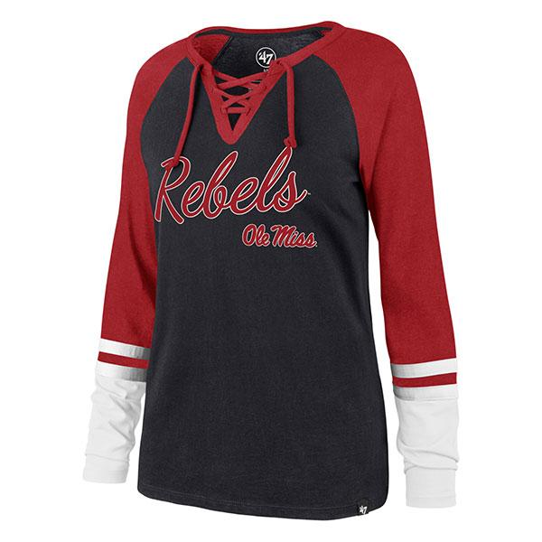 Ls Ole Miss Fast Break Lace Up Tee