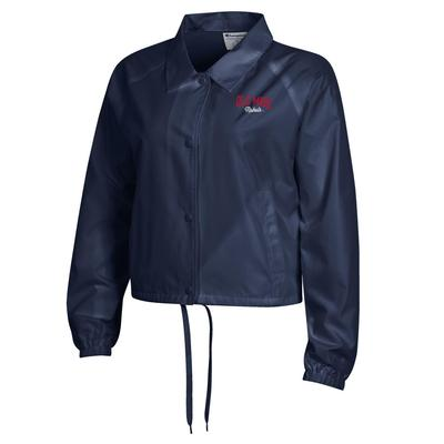 WOMENS CROPPED COACHES JACKET NAVY