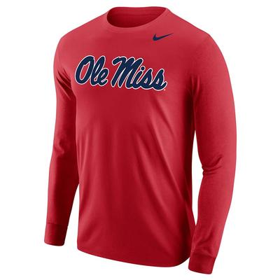 NIKE OM CORE COTTON LS TEE UNIVERSITY_RED