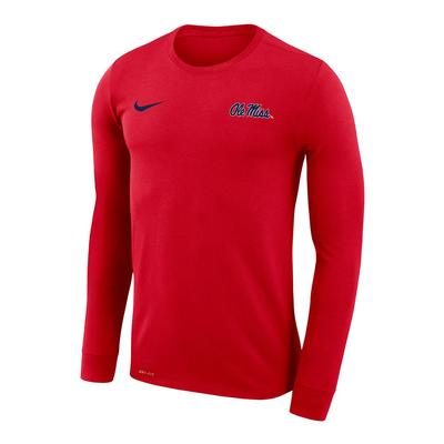 OLE MISS NIKE DRI-FIT LEGEND LS TEE