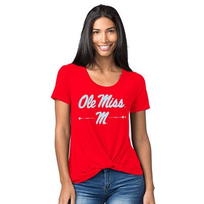 GIRLS TWISTED TEE RED