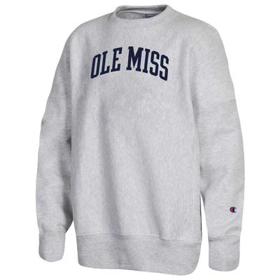 OLE MISS YOUTH REVERSE WEAVE CREW SILVER_GREY