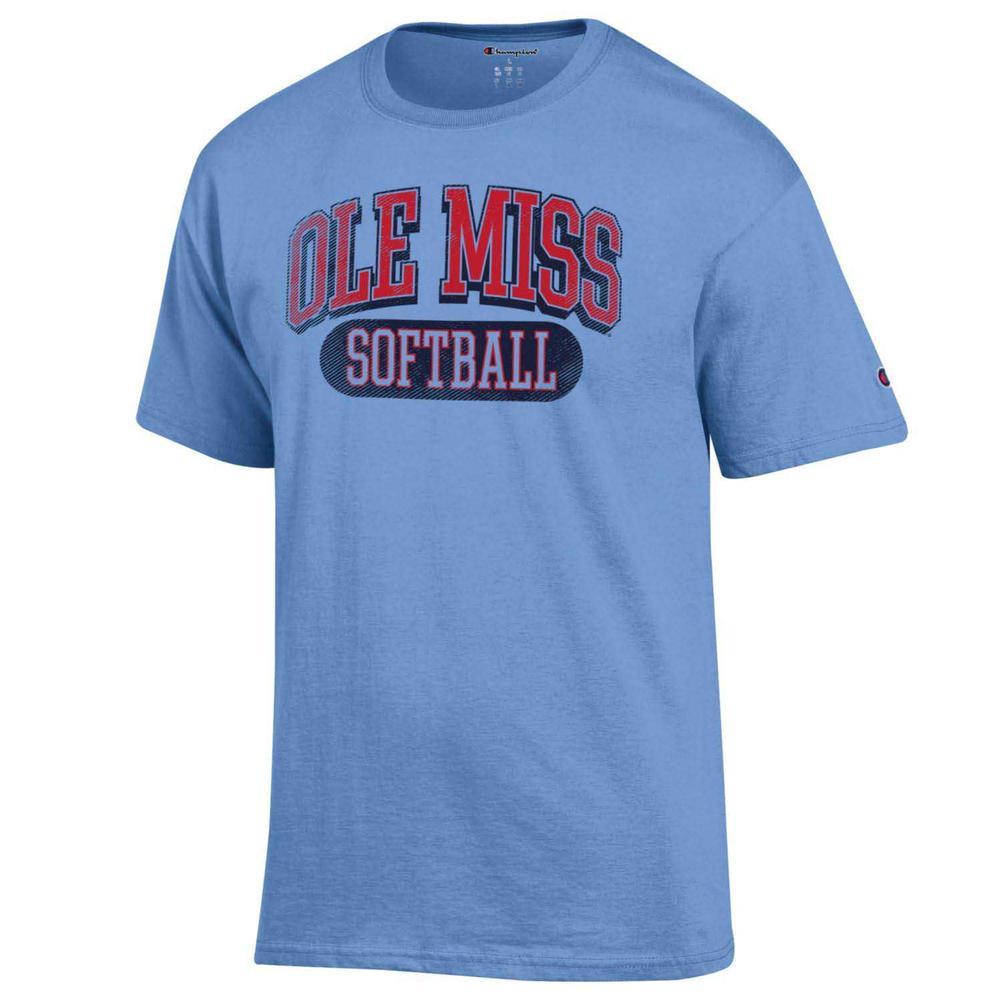 Distressed Ole Miss Softball Ss Tee
