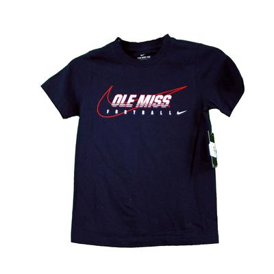 YTH OLE MISS FOOTBALL TEE NAVY