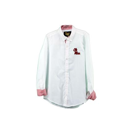 OLE MISS WOVEN BUTTON DOWN SHIRT