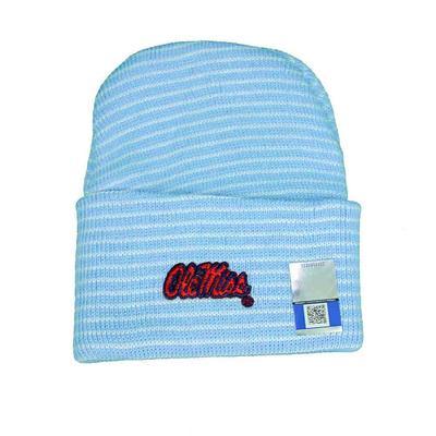 OM STRIPE KNIT CAP LIGHT_BLUE