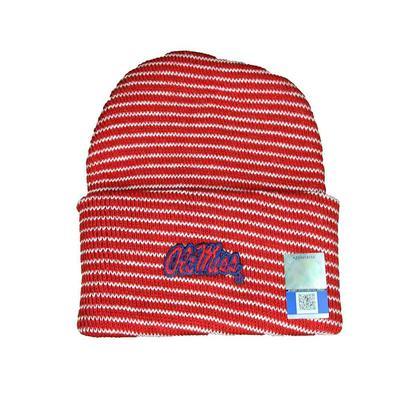 OM STRIPE KNIT CAP RED