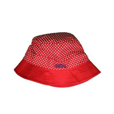 OM PIN DOT BUCKET HAT RED