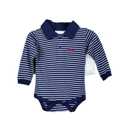 OM LS STRIPE GOLF CREEPER NAVY