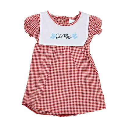 TODDLER WOVEN CHECKERED DRESS RED