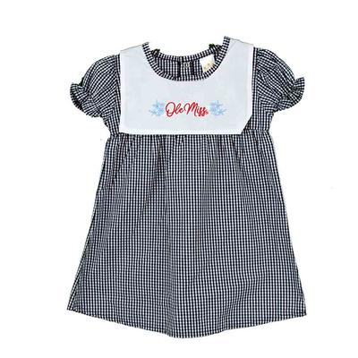 INFANT WOVEN CHECKERED DRESS NAVY