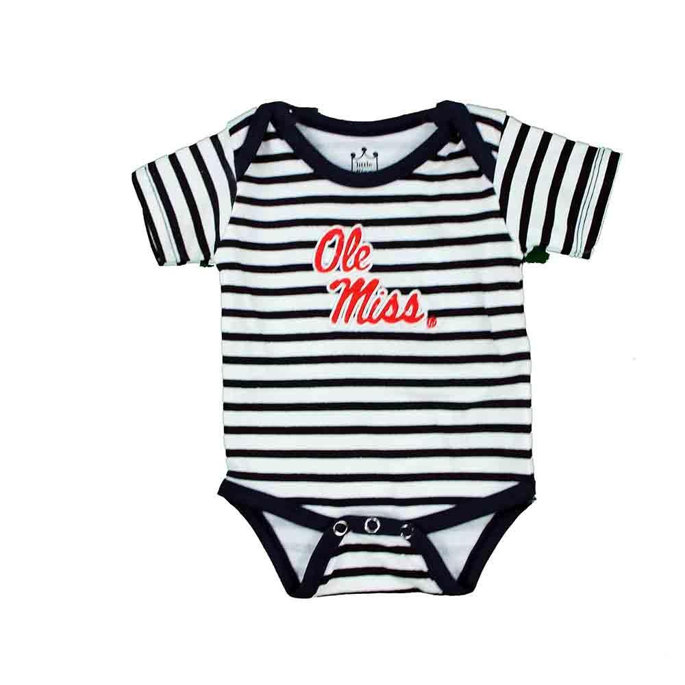 Ole Miss Striped Diaper Shirt Romper