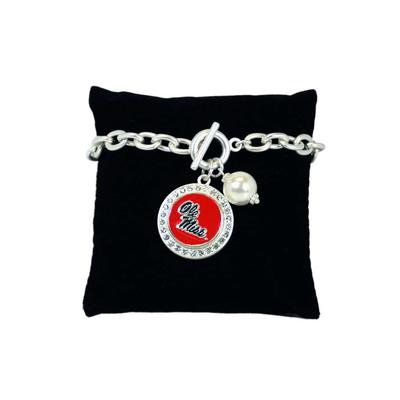 OLE MISS BRACELET TOGGLE PEARL SILVER