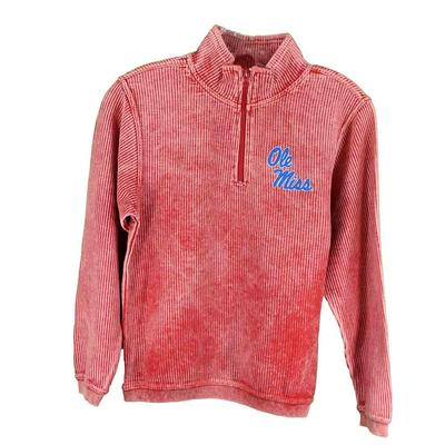 OM QTR ZIP CORDUROY PULLOVER RED