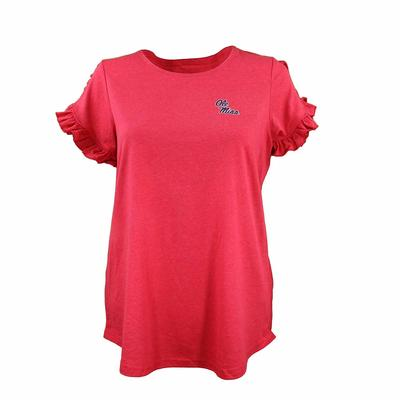LADIES RUFFLE SLEEVE TEE RED