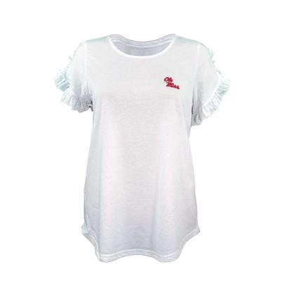 LADIES RUFFLE SLEEVE TEE WHITE