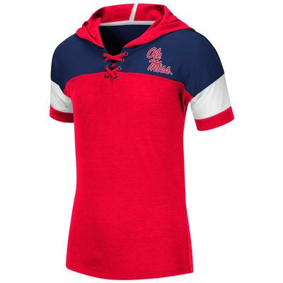 YTH OLE MISS CINDERELLA STONE LACE UP RED