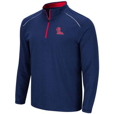 JJS OLE MISS QTR ZIP WINDSHIRT NAVY