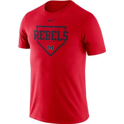 OLE MISS BASEBALL PLATE NIKE DRI-FIT COTTON SS TEE RED