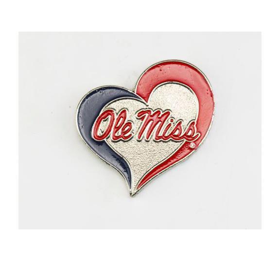 Ole Miss Swirl Heart Pin