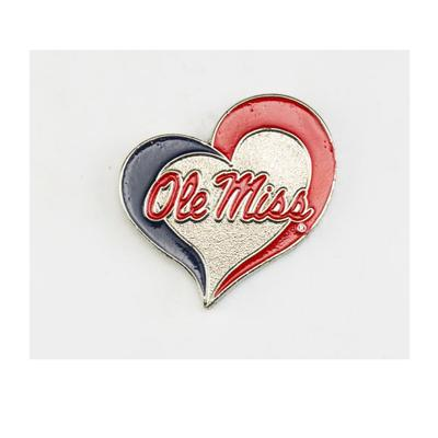 OLE MISS SWIRL HEART PIN