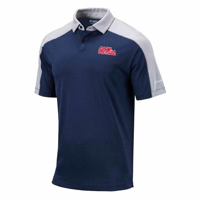 OLE MISS MENS OMNI-WICK BRACKET POLO NAVY