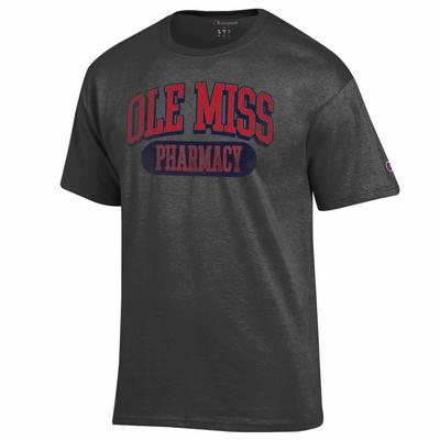 DISTRESSED OLE MISS PHARMACY SS TEE GRANITE