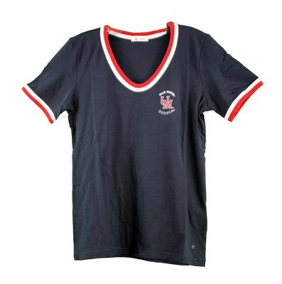 BEFORD LETTER VNECK TEE NAVY