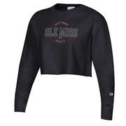 OLE MISS WOMENS REVERSE CROPPED CREW