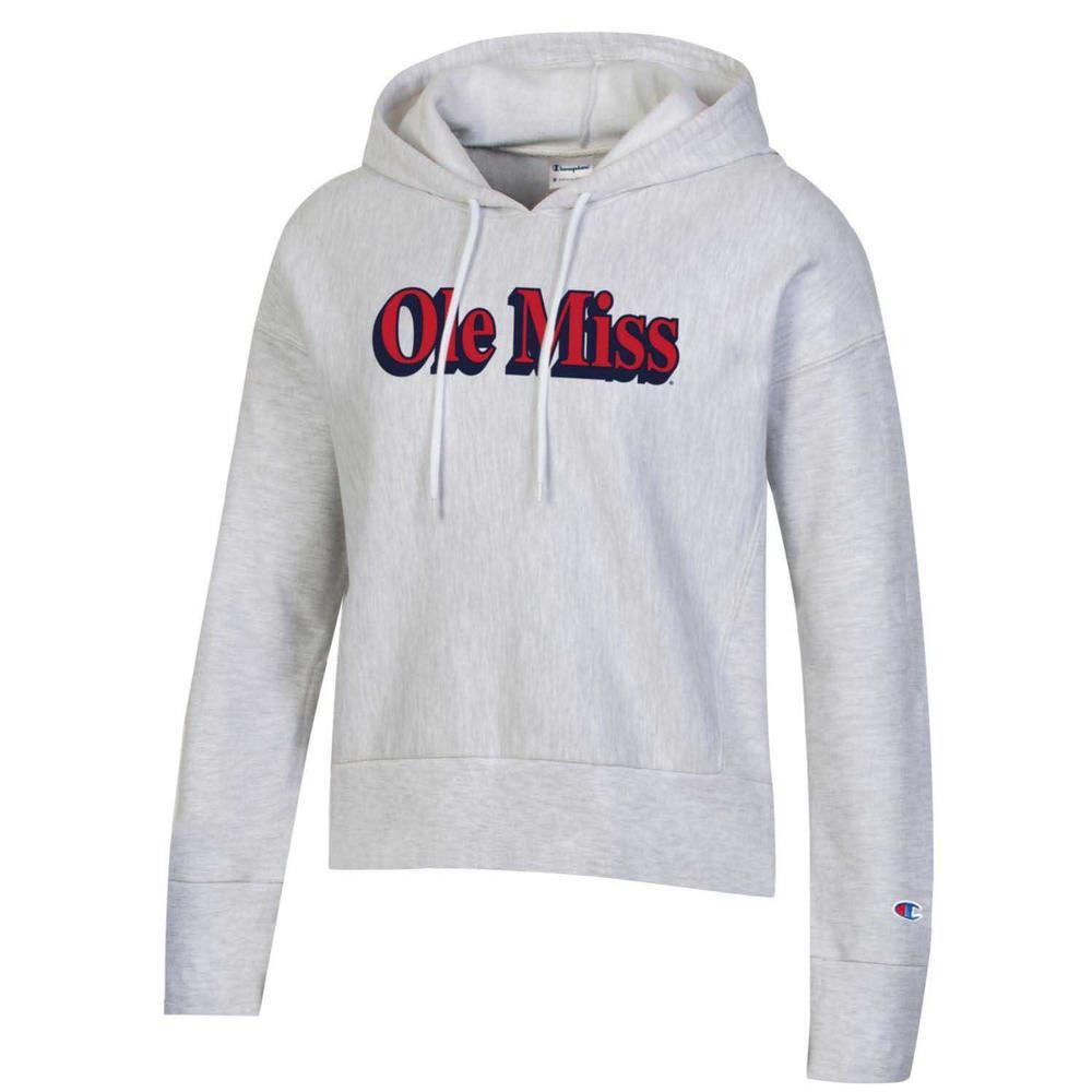 Ole Miss Womens Reverse Weave Fleece Hood