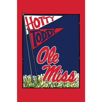HOTTY TODDY OM GARDEN FLAG RED