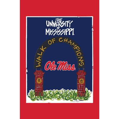 OM WALK OF CHAMPS GARDEN FLAG RED