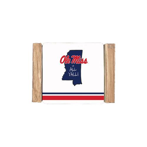 Ole Miss Striped Coaster Sets