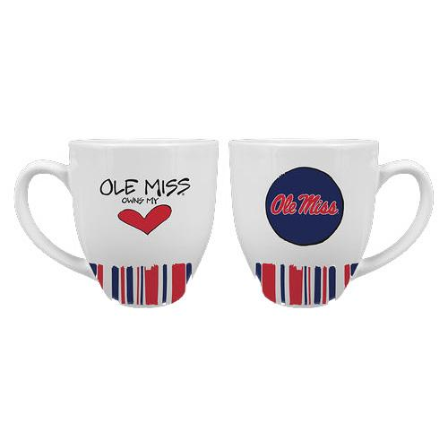 Ole Miss Heart Striped Mug