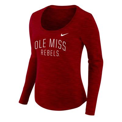 LS OLE MISS SCOOP NECK TEE RED