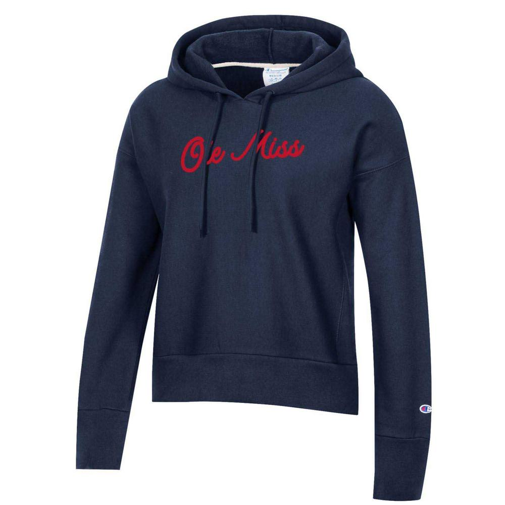 Ole Miss Womens Reverse Weave Fleece Hood
