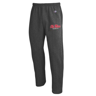 OLE MISS CHAMPION ECO POWERBLEND OPEN BOTTOM PANT GRANITE