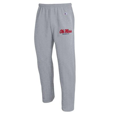 OLE MISS CHAMPION ECO POWERBLEND OPEN BOTTOM PANT HEATHER_GREY