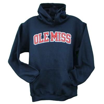 OLE MISS ECO POWERBLEND YOUTH HOOD NAVY