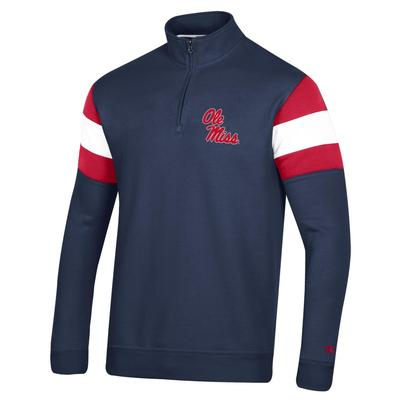 OLE MISS MENS MTO SUPER FAN QTR ZIP