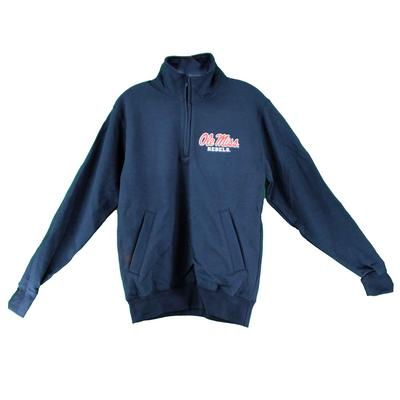 OLE MISS CHAMPION ECO POWERBLEND QTR ZIP NAVY
