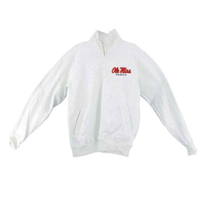 OLE MISS CHAMPION ECO POWERBLEND QTR ZIP OATMEAL