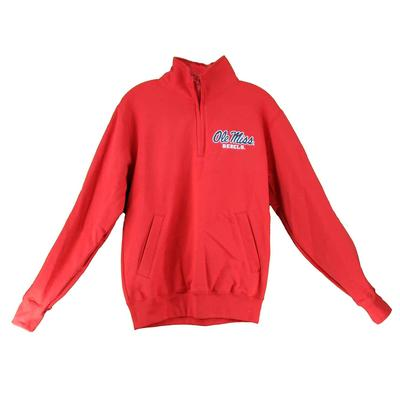 OLE MISS CHAMPION ECO POWERBLEND QTR ZIP SCARLET