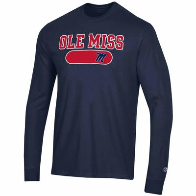 OLE MISS MENTS MTO SUPER FAN LONG SLEEVE TEE NAVY