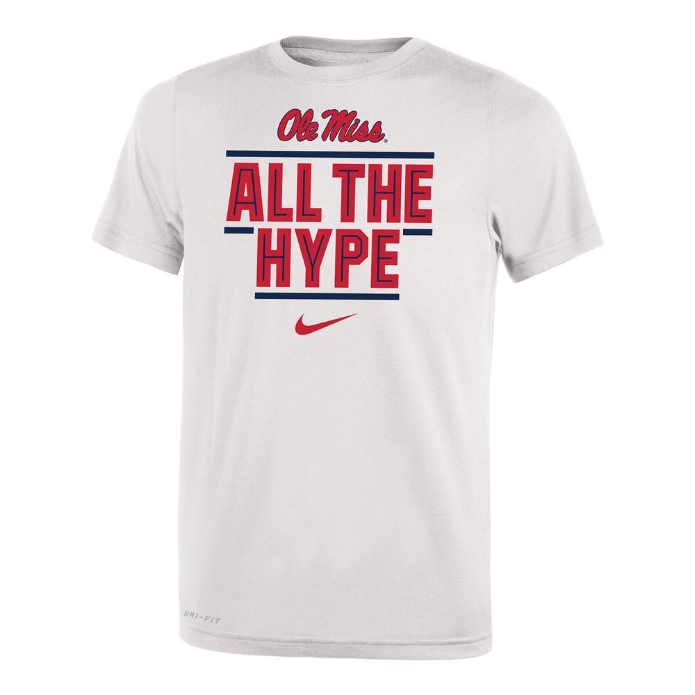 Ole Miss All The Hype Dri- Fit Legend 2.O Youth Ss Tee