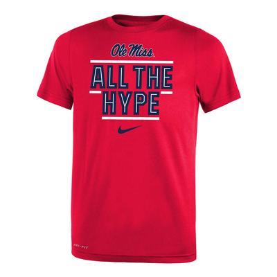 OLE MISS ALL THE HYPE DRI-FIT LEGEND 2.O YOUTH SS TEE RED