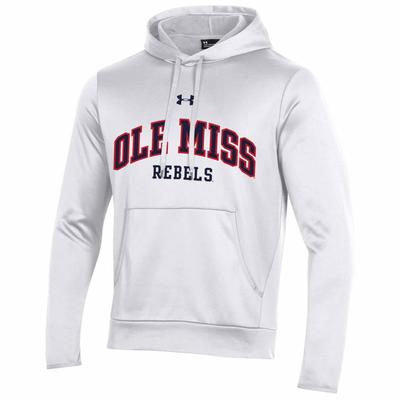 OLE MISS REBELS ARMOUR FLEECE PULLOVER HOOD WHITE
