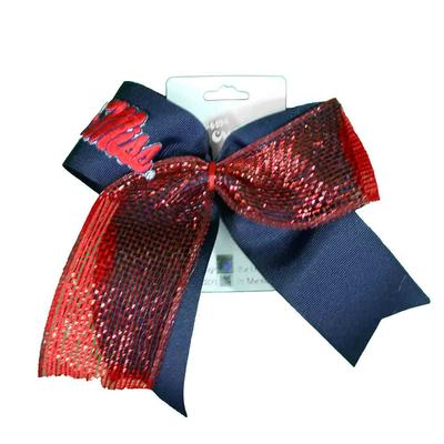 OLE MISS GLITZY MESH CHEER BOW