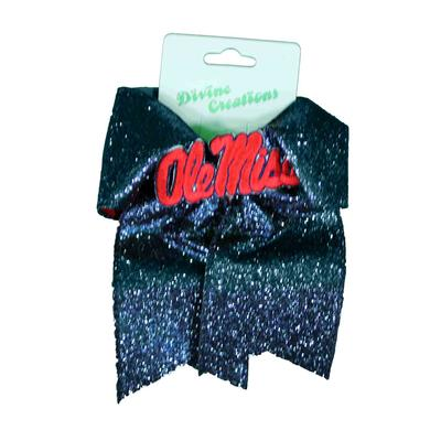 OLE MISS GLITZY CHEER OVERLAY BOW