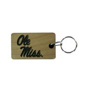 OLE MISS WOOD KEYCHAIN
